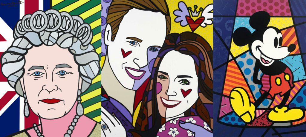 Romero Britto Queen Prince Kate Mickey